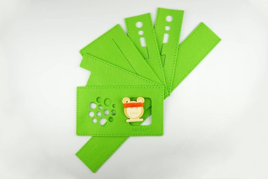 Filz, Nadel und Faden für eine grüne hörbert-Filztasche