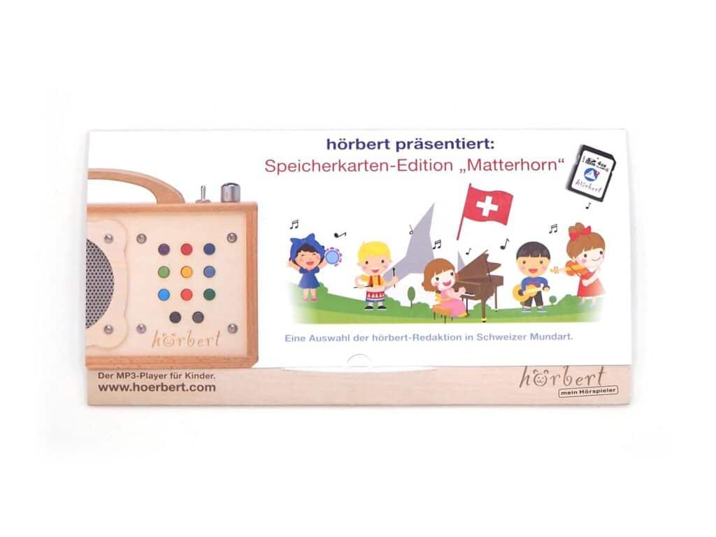 Verpackung der Matterhorn Speicherkarte für hörbert